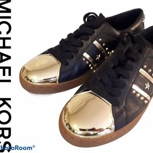 MICHAEL KORS black and gold sneakers Size 6M